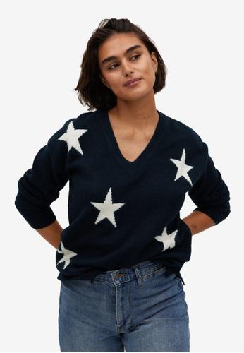 Violeta by MANGO blue Plus Size V-Neck Sweater 72C3DAA593A908GS_1