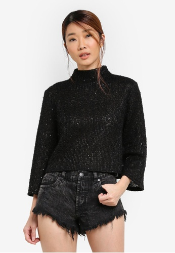 Something Borrowed black Flare Sleeve Boxy Sweater 50904AACB2E7A9GS_1