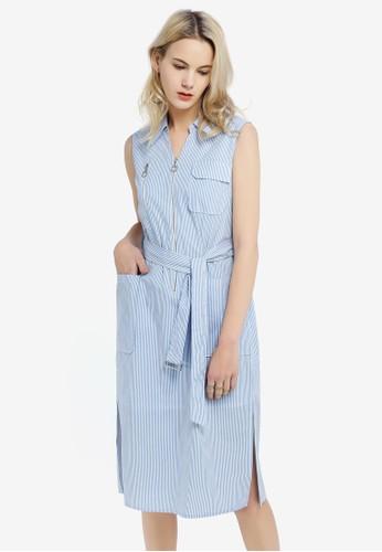 Hopeshow blue Sleeveless Dress with Tie Belt 295D1AA7D72F52GS_1
