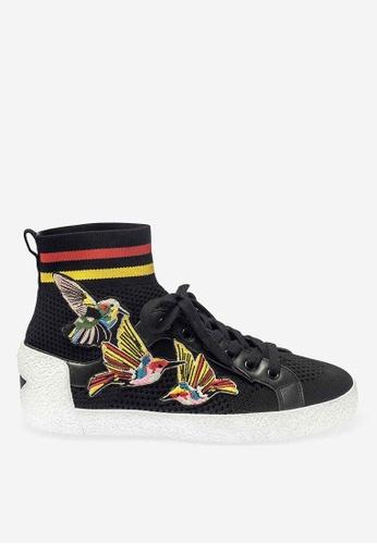 ASH 黑色 Ninja Birds - 黑色刺繡補丁運動鞋 ED269SH5DB9391GS_1
