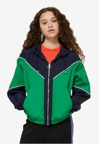 TOPSHOP green Colour Block Windbreaker Jacket 8A315AAA51CDF0GS_1