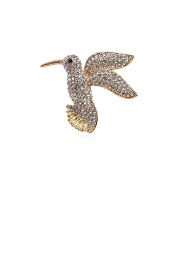 Glamorousky white Simple and Bright Plated Gold Bird Brooch with Cubic Zirconia 031E7ACA41C937GS_1