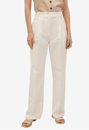Mango white Pleat Straight Trousers 921C2AAF32C983GS_1
