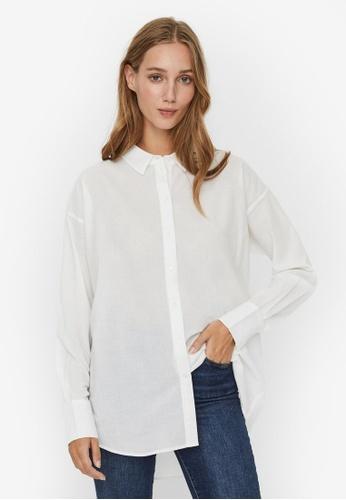 Vero Moda white Loose Long Sleeve Shirt 1E6BFAA17D7E8BGS_1