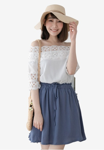 Eyescream blue Lace Trim Off Shoulder Dress C005BAA1D83254GS_1