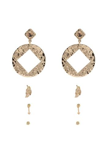 Red's Revenge gold 4-in-1 boho cut-out earrings set 130EAACFB45B4CGS_1