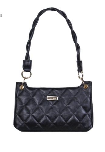 Verchini black Verchini Textured Panelled Shoulder Bag 5B577ACDD7D4F3GS_1