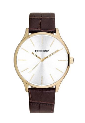 PIERRE CARDIN brown Pierre Cardin Jam Tangan Pria - Brown Gold - Leather Strap - PC902151F03  PI436AC0VQH6ID_1