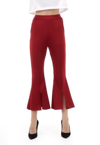 Hamlin n/a Celana Panjang Casual Wanita Cutbray Split Comportable Long Pants Material Scuba ORIGINAL - Maroon ED4DAAA46E9BCEGS_1