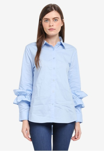 Zalia blue Frill Cuff Shirt 08357AA8245CD4GS_1