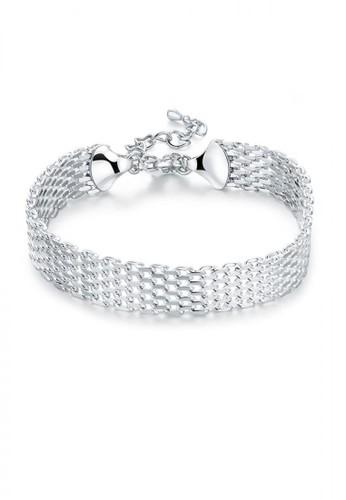 Glamorousky silver Fashion Elegant Geometric Bar Bracelet 564B1AC642FE29GS_1