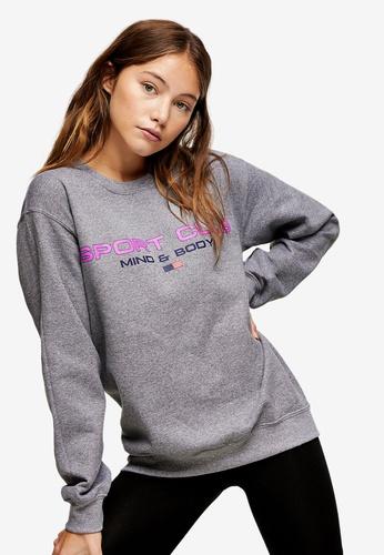 TOPSHOP grey Grey Marl Sports Club Sweatshirt 0CFF3AA94EE72BGS_1