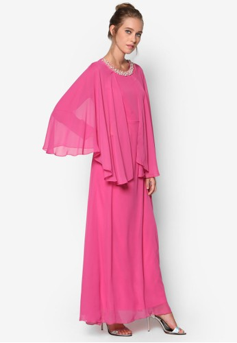 Indah Cape Desprit 見工reams Maxi Dress, 服飾, 晚宴禮服