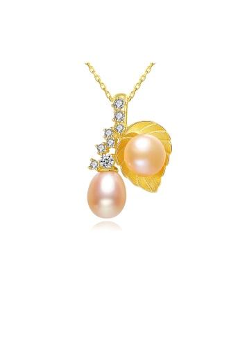SUNRAIS gold Premium Color Stone Golden Leaf Necklace 3D377ACCB5D8FCGS_1