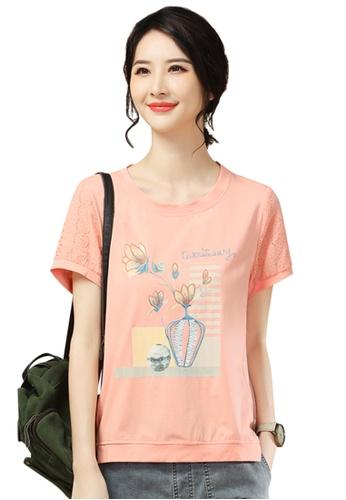 A-IN GIRLS 粉紅色 刺繡鏤空短袖T恤 1CB68AADD99068GS_1