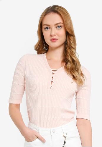 Hopeshow orange Short Sleeve V-Neck Knitted Blouse D46B6AAE6906AEGS_1