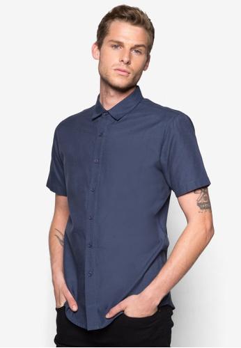 ZALORA navy Basic Short Sleeve Oxford Shirt ZA919AA54WUFSG_1