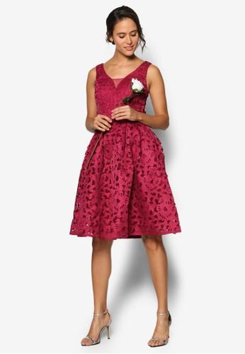 Emma 露背V 領鉤花蕾絲esprit官網洋裝, 服飾, 洋裝