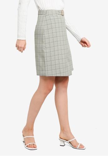 Hopeshow green Front Slit Plaid Skirt 17676AA5624EE2GS_1