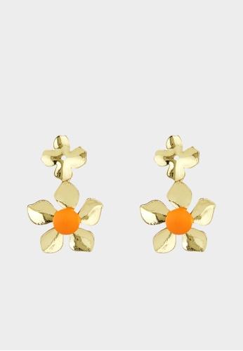 Pomelo multi Metal Flower Shaped Drop Earrings - Gold 57AB7AC3DCC565GS_1