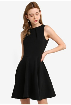 75cfd9307b CLOSET black Skater Belted Dress F4011AA80C1DFFGS 1