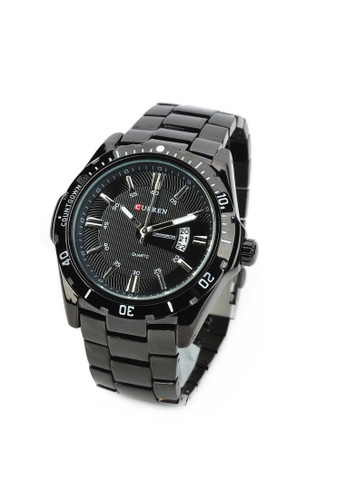 curren black Curren 8110 Men's Stainless Steel Watch (Full Black) CU537AC09RQWMY_1