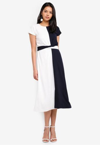 WAREHOUSE multi Colour Block Twist Front Dress 6D4A1AABCB77B0GS_1
