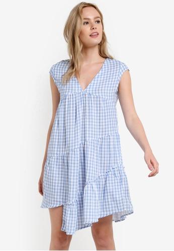 ZALORA blue Asymmetric Ruffle Dress 6E38BAA06ECF0FGS_1