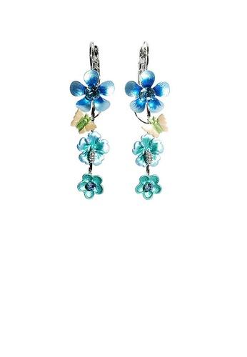 Glamorousky blue Blue Flower Shape Earrings with Blue Austrian Element Crystals FA392AC54EE137GS_1