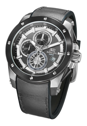 Roscani grey Roscani Paul 988 (Chronograph + WR10ATM) Stainless Steel Grey Leather Men Watch 3F6ACAC19A7610GS_1