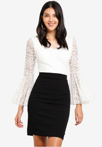 WALG black and white and multi Contrast Lace Dress With Fluted Long Sleeve 792FDAA1AB0EBEGS_1