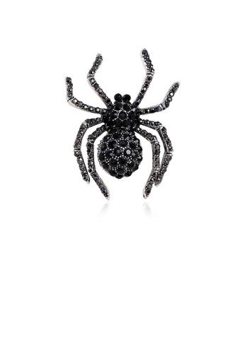Glamorousky black Fashion Personality Spider Black Cubic Zirconia Brooch 7259BACC56D54BGS_1