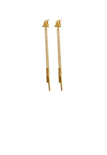 Glamorousky 銀色 簡約時尚鍍金色幾何三角形流蘇316L鋼耳環 5CC2BACA8F9F11GS_1