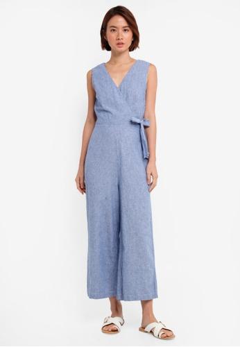 WAREHOUSE blue Stripe Wrap Jumpsuit 0FD93AABD456C5GS_1