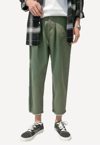 hk-ehunter green Men's Straight Cropped Pants 6A2D9AA97E7374GS_1