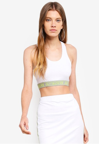 Factorie white and multi Co-Ord Elastic Crop Tank Top 12788AAD6B7443GS_1