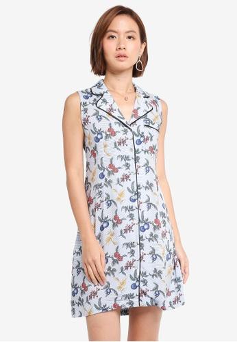ec45d1e9fd ZALORA navy Sleeveless Mini Shirt Dress With Contrast Piping  1897DAAA2C868FGS 1