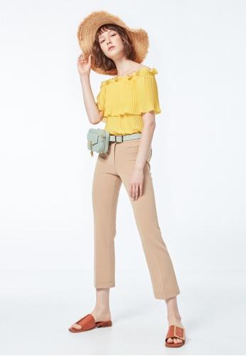 iROO beige Straight Cut Trousers D73ABAA9317693GS_1