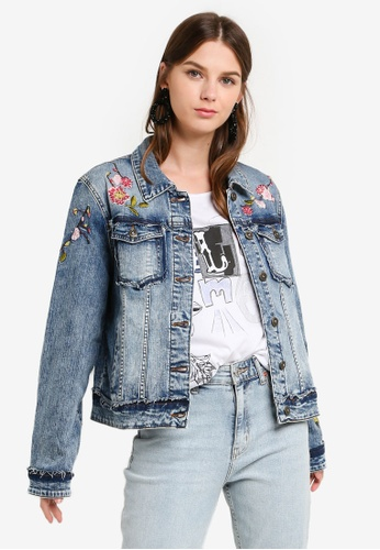Womens Embroidered Denim Biker Jacket With Fur Collar Simply Be