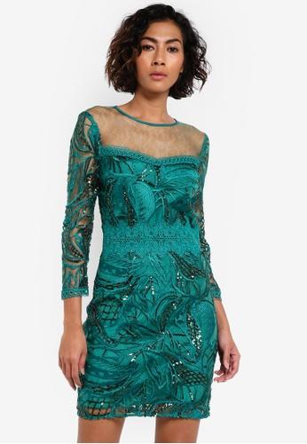 Miss Selfridge green Premium Embellished Shift Dress MI665AA0RSU5MY_1
