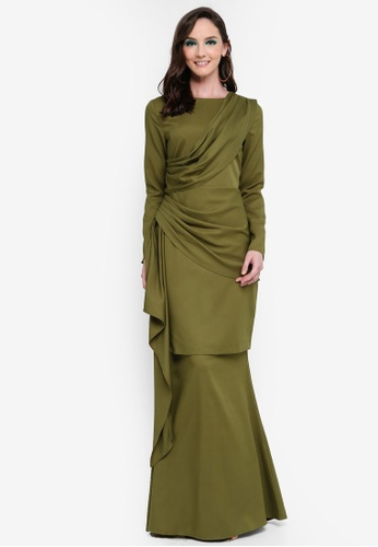 Leilani Side Drape Kurung from Syaiful Baharim in Green