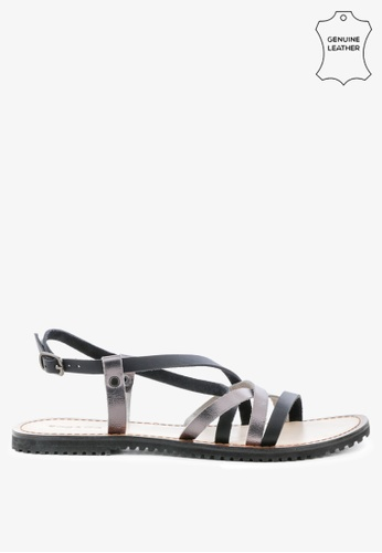 RAG & CO black Strappy Flat Leather Sandals F0736SH229748AGS_1