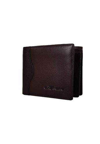 EXTREME Extreme Genuine Leather Wallet Bifold Middle Flap Multiple Credit Slots Dark Brown 51071AC0D7301DGS_1