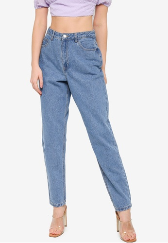 MISSGUIDED blue Riot Highwaisted Mom Jeans 311A0AA7A01F3AGS_1