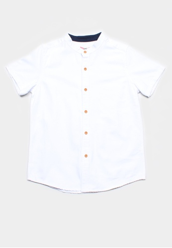Mini Moley white Brushed Cotton Classic Mandarin Collar Boy's Short Sleeve Shirt 4EB15KAC7AA9ACGS_1