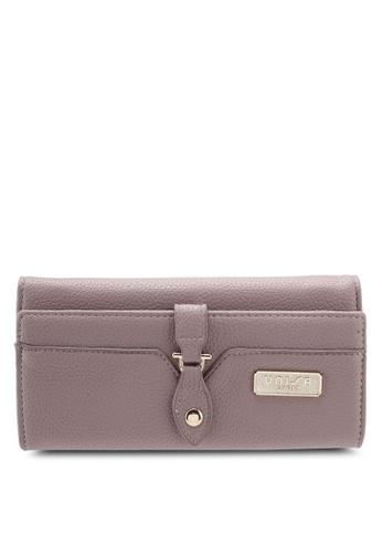 Unisa purple Pebbled Ladies Tri-Fold Wallet UN821AC0SIN2MY_1