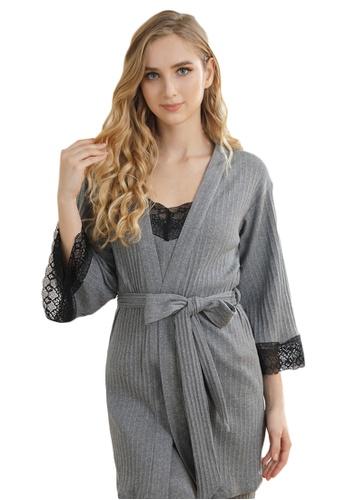 LYCKA 灰色 LCB8038-女士居家休閒睡衣三件套-灰色 2E58DAAEB66D6DGS_1