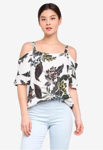 18c34d404573e Dorothy Perkins white Ivory Tropical Frill Cold Shoulder Top  8C7F2AA7DB0E88GS 1