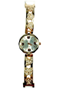 Trendy Floral Watch with Stainless and Silicone Strap