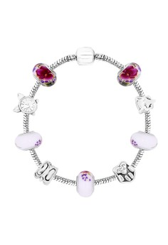 Treasure by B&D DBY022 Flowers Printed Enamel Lucky Beads DIY Bracelet(Silver Pleated)
